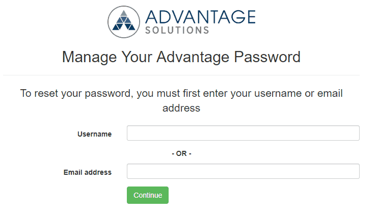 Forgot my username/password page
