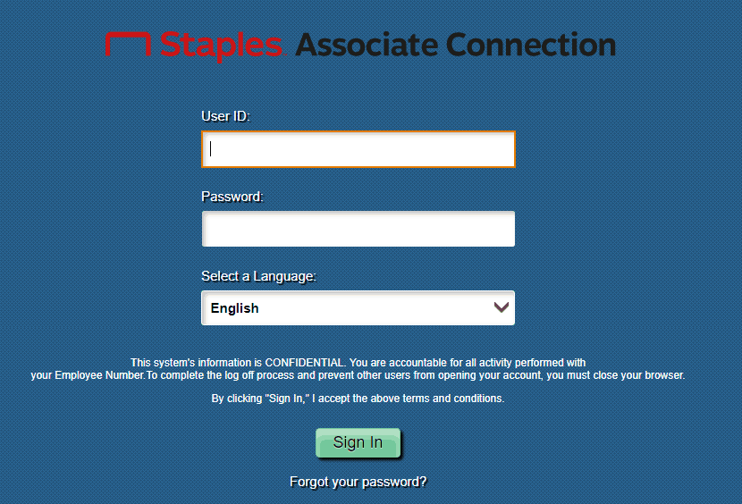 Staples Associate Connection Login Page