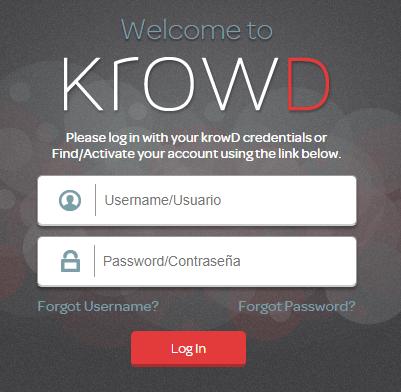 Krowd Darden online portal page