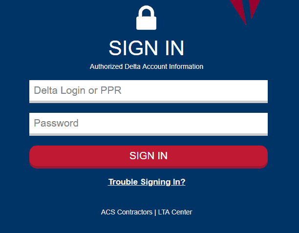 Delta Travelnet Login Page.