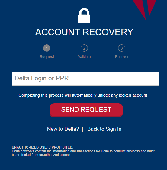 Account recovery page