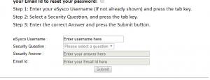 Forgot Esysco Password