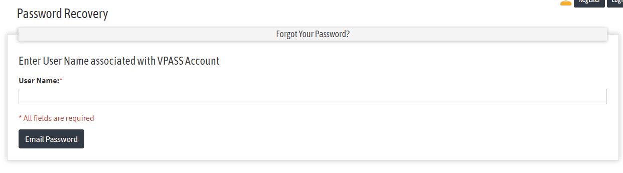 Forgot Vpass Password
