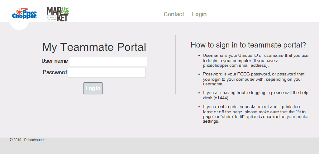 My teammate portal by Price Chopper