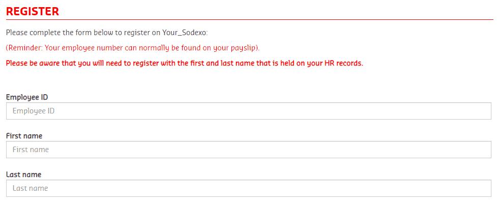 Register process of Sodexo North American Portal