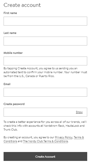 MyNordstorm.com registration form