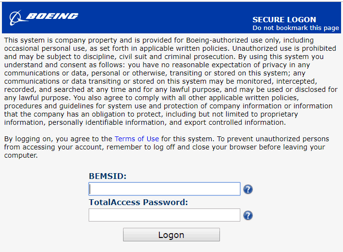 Boeing-TotalAccess-login-page