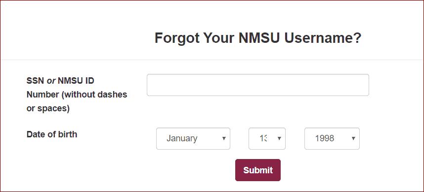 forgot myNMSU username
