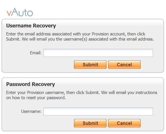 Vauto Forget Usename or Password