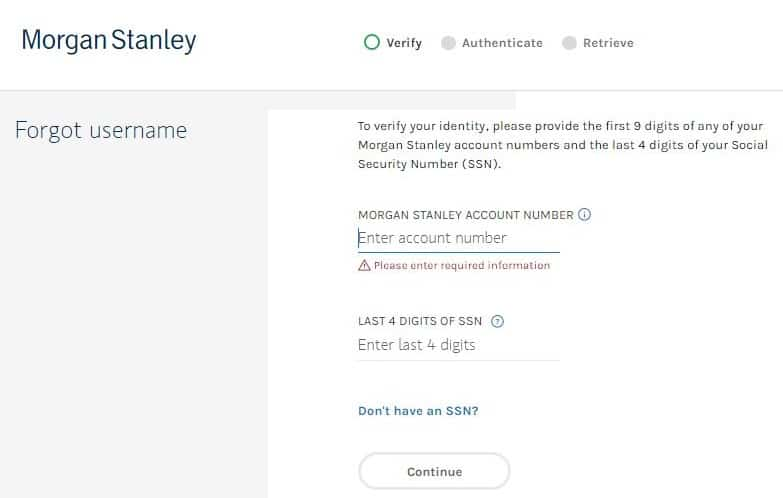 MorganStanleyClientserv - Forgotten Username?