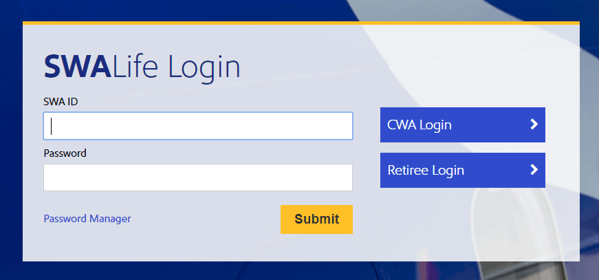 Southwest Airlines Login Form