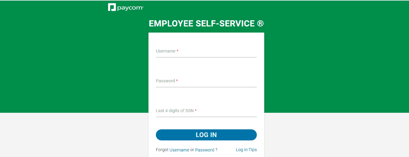 Paycom Employee Login Form