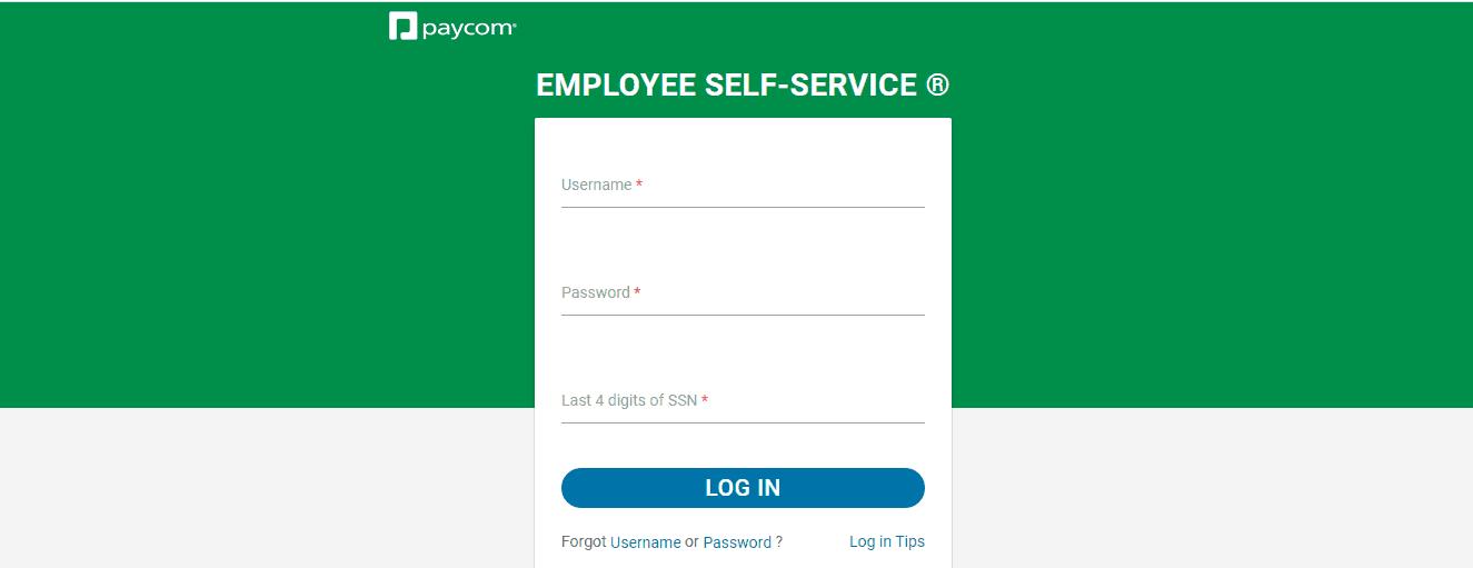 Paycom Employee Login Form
