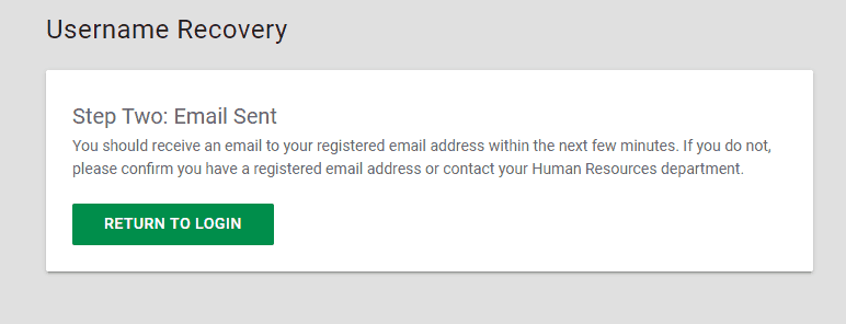 Username Recovery Step 2