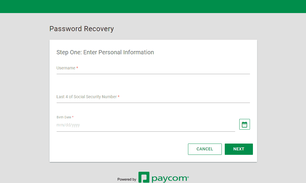 Password Recovery Step 1