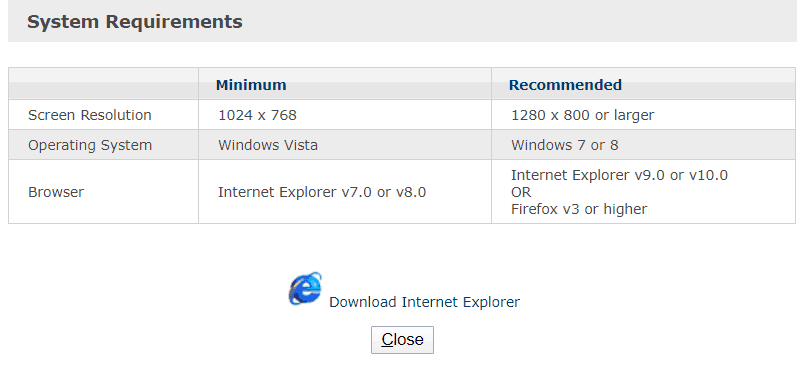 System requirements for Emdeon Login