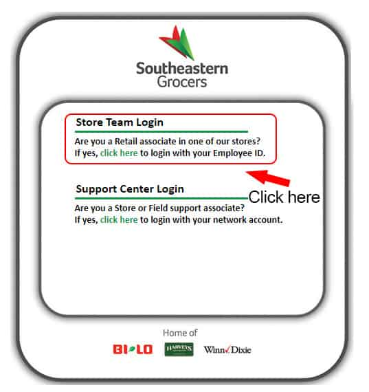 Step 2 of Winn Dixie Employee Login Process