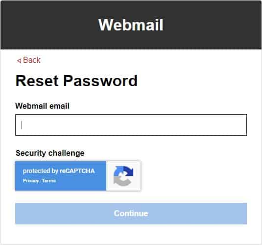 GoDaddy Webmail Forget Password Page