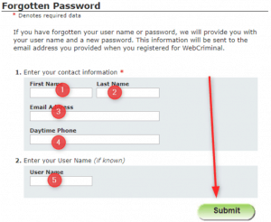 Webcrims Password Reset