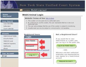 Webcrims Login Page